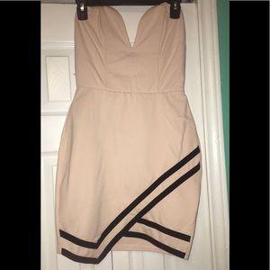 Light pink w/ black deep v cut mini dress